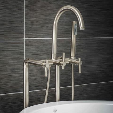 Pelham & White Luxury Tub Filler Faucet, Modern Design, Floor Mount Installation, Lever Handles, Brushed Nickel Finish