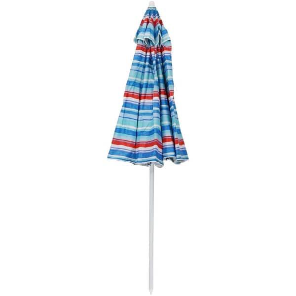 beff33f8fbdd Shop Sunnydaze 6-Foot Beach Umbrella with UV-Protection and Tilt ...