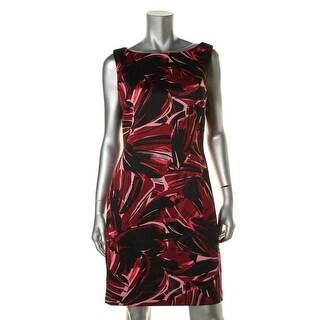 Tahari ASL Womens Printed Sleeveless Wear to Work Dress