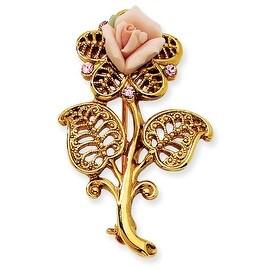 Goldtone Pink Porcelain Rose/Pink Crystal Pin Brooch