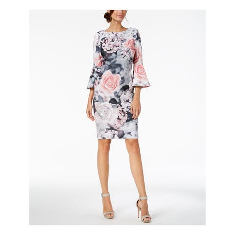 CALVIN KLEIN Womens Gray Floral Print Bell Sleeve Jewel Neck Above The Knee Sheath Wear To Work Dress Petites Size: 8