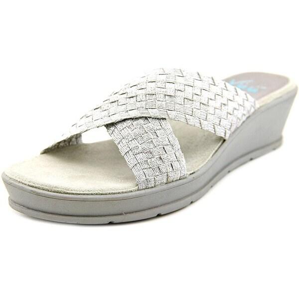 Yuu Fanen Women Open Toe Canvas Silver Slides Sandal