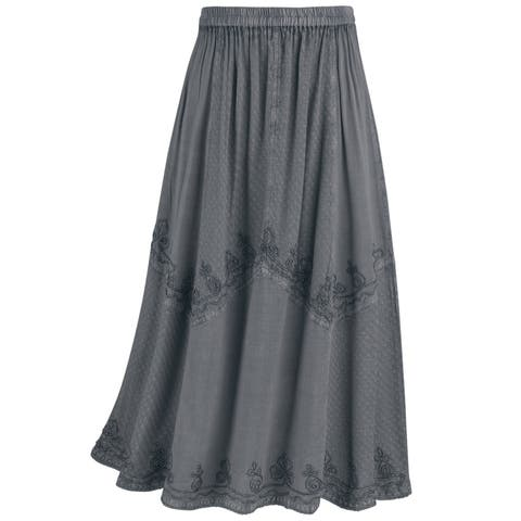 4f019f7f58 Women's Panel Skirt - Long Overdyed Embroidered Floral Stitching Elastic  Waist