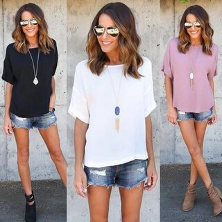 Women Loose Short Sleeve Plus Casual Solid T Shirt Tee Blouse Tops
