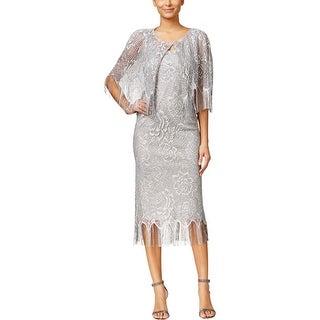 SLNY Womens Dress With Cardigan Metallic Crocheted - 8