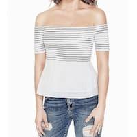 Guess White Women's Size XL Smocked Stripe Off Shoulder Blouse