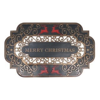 """Black and Gold Merry Christmas Doormat with Red Reindeer 17"""" x 29"""" - N/A"""
