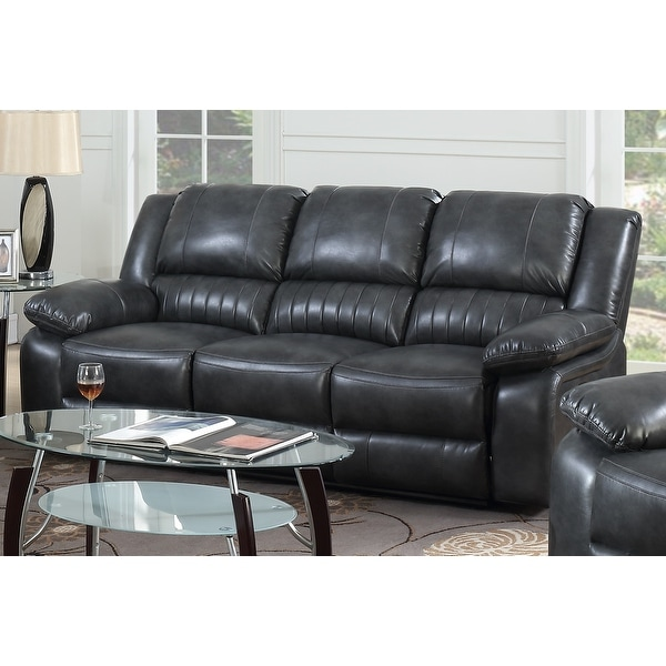 Copper Grove Tanrake Dark Grey Faux Leather Dual Reclining Sofa. Opens flyout.
