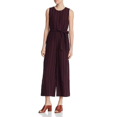 Eileen Fisher Womens Petites Jumpsuit Organic Linen Striped - Casis