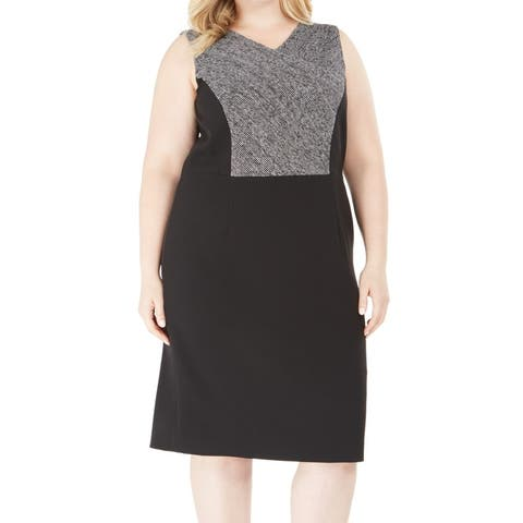 Kasper Womens Sheath Dress Black Combo Size 20W Plus V-Neck Colorblock