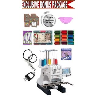 Janome MB-7 Seven-Needle Embroidery Machine w/ Platinum Series Embroidery Package!