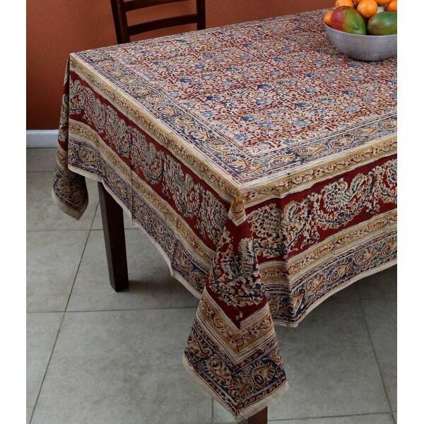 Vegetable Dye Hand Block Print Floral Cotton Round Tablecloth Rectangular, Square, Napkins