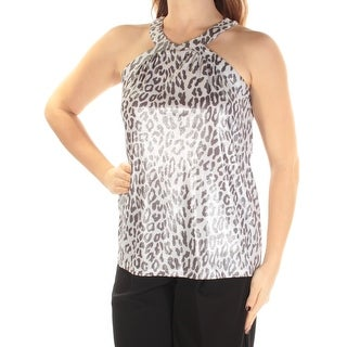 INC $54 Womens New 1065 Gray Ivory Animal Print Metallic Sleeveless Top M B+B
