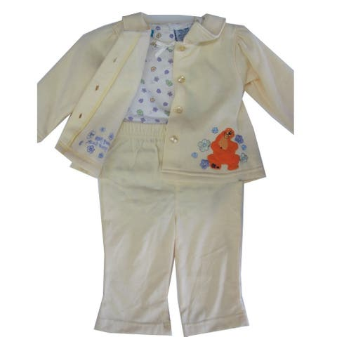 Baby Girls Yellow Floral Bear Embroidered Onesie Sweater 3 Pc Pants Set 12-24M