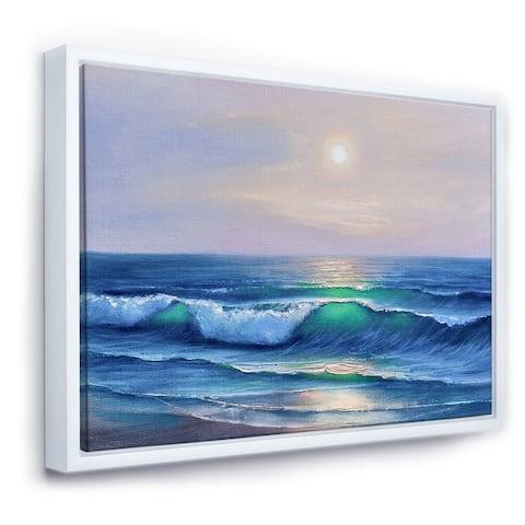 Designart 'Sunshine Reflecting Throug Braking Waves V' Coastal Framed Canvas Wall Art Print