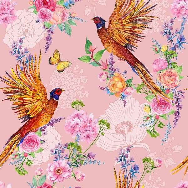 Shop Floral Peacock Removable Wallpaper 10 Ft H X 24 Inch W Overstock 31701902