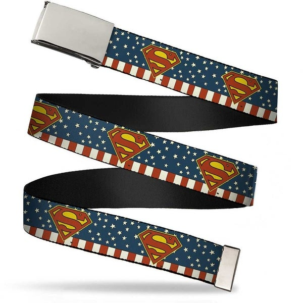 Blank Chrome Buckle Superman Shield Americana Red White Blue Yellow Web Belt - S
