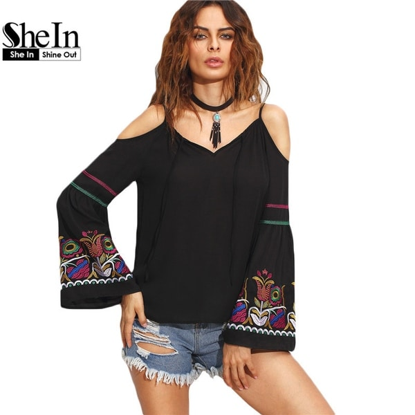 42ae421d2914bf Shop SheIn Ladies Black Embroidered Cold Shoulder Top Autumn Women V Neck  Long Flare Sleeve Vintage Blouse - Free Shipping Today - Overstock -  23002144