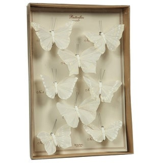 Link to Feather 8 Piece Butterfly Accent Decor with Specimen Box, White Similar Items in Accent Pieces