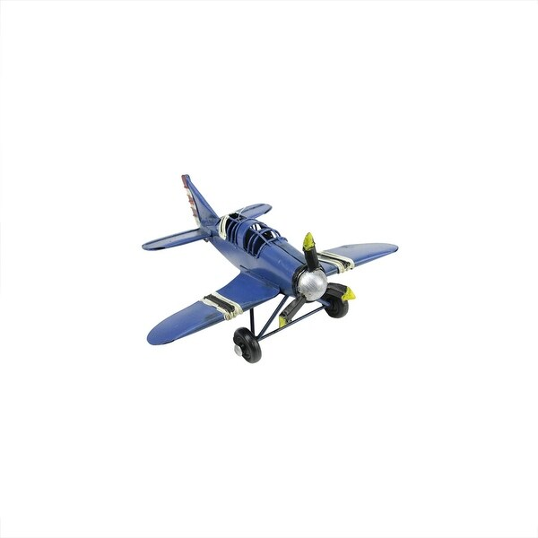 "6.5"" Vintage-Style Blue Airplane with Red, White and Black Stripes Decorative Christmas Ornament"