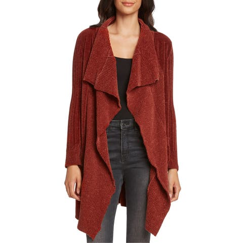 Willow & Clay Women's Sweater Red Size XS Cardigan Draped Open-Front