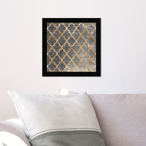 Oliver Gal 'Arabesque Gold' Abstract Wall Art Framed Print Patterns - Gray, Gold