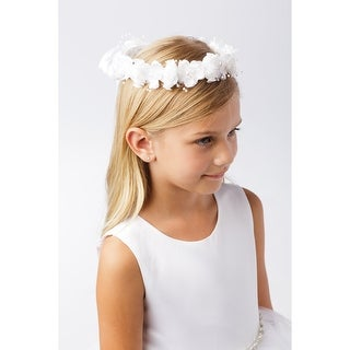 Girls Ivory Silk Flower Pearl Cluster Rosettes Special Occasion Hair Wreath