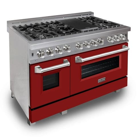 "ZLINE 48"" Professional Dual Fuel Range in DuraSnow® - Red Matte Door"