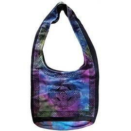 Handmade Cotton Celtic Cross Hobo Bag for Shopping Work Tote Flat Bottom 15x12 Purple & Green