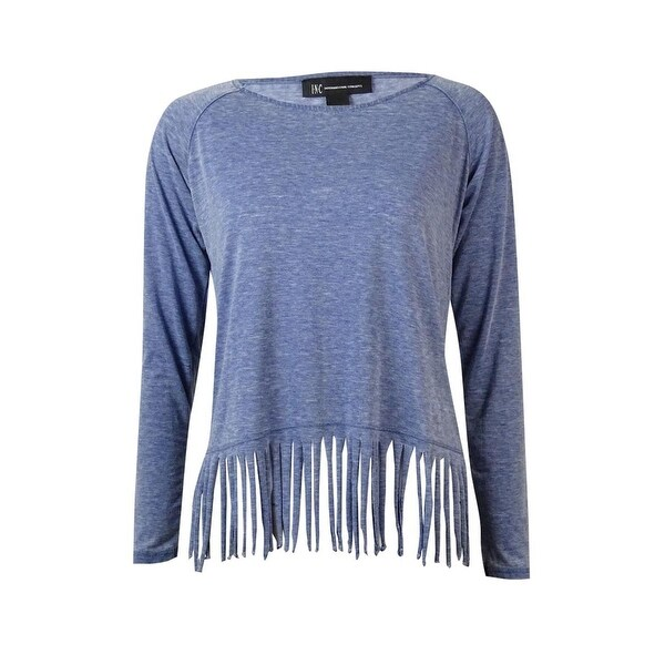 INC International Concepts Women's Fringed Marled Top - Vendor Blue - XS