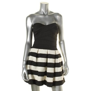 Teeze Me Womens Juniors Party Dress Striped Strapless
