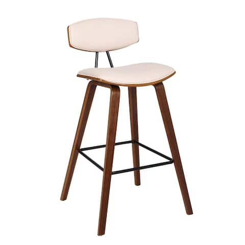"""Fox 30"""" Mid-Century Bar Height Barstool in Faux Leather with Walnut Wood"""