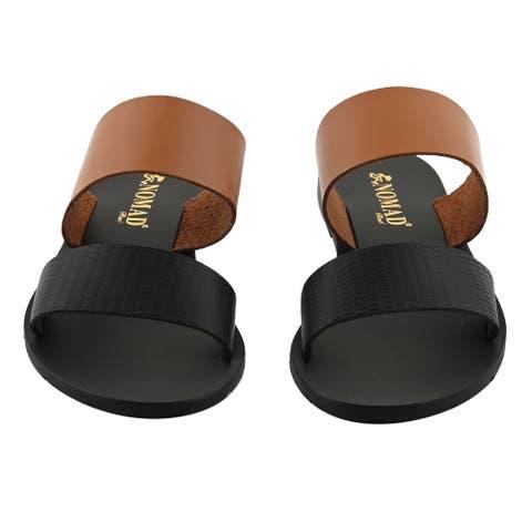NOMAD Tan Black Noosa Flat Sandal Slip On Open Toe Anti Skid-Size 6
