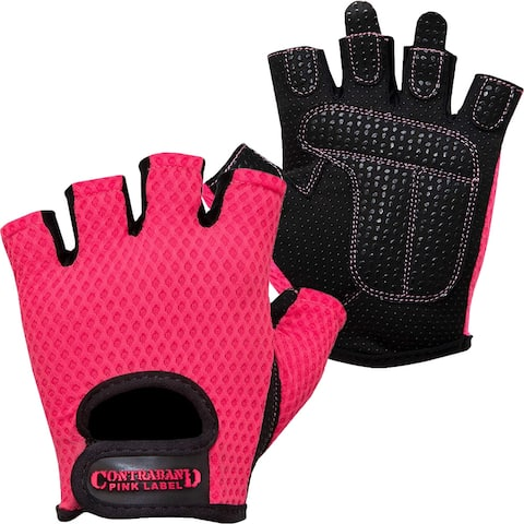Contraband Sports 5307 Pink Label Diamond Mesh Weight Lifting Gloves - Pink