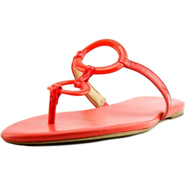 Michael Michael Kors Claudia Flat Sandal Women Open Toe Orange Thong Sandal