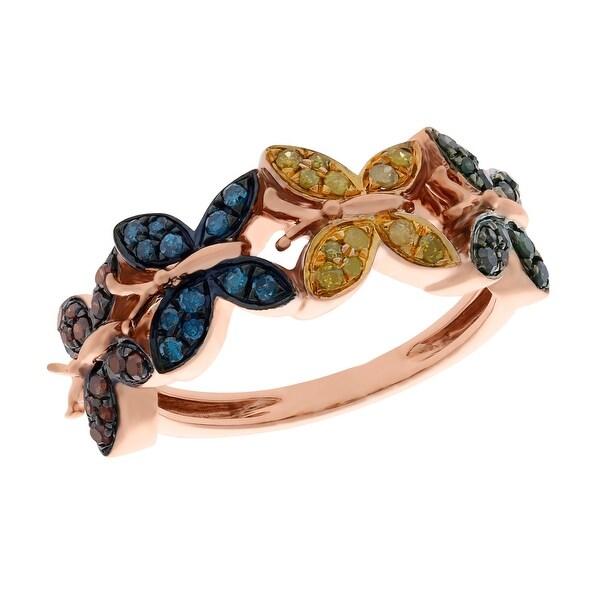 Prism Jewel 0.33 Carat Round Brilliant Cut Multi Color Diamond Butterfly Ring
