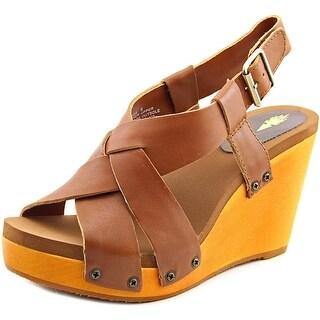 Volatile Contemp Women Open Toe Leather Wedge Sandal