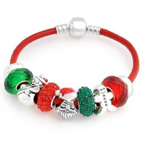 Christmas Holiday Santa Snowman Crystal Themed European Multi Bead Charm Red Leather Bracelet For Women Sterling Silver
