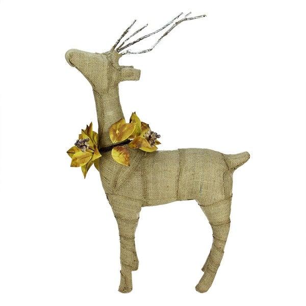 """26.5"""" Rustic Burlap Reindeer Wearing Amber Leaves and Berries Decorative Standing Christmas Figure - brown"""
