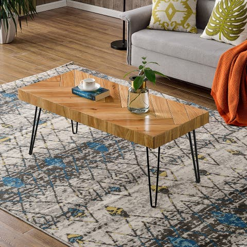 Merax Glossy Finished Wood Coffee Table with Chevron Pattern and Metal Hairpin Legs