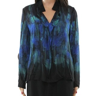 Elie Tahari NEW Blue Women's Size Small S High Low Silk Blouse