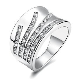 White Gold Five Jewels Line Ring