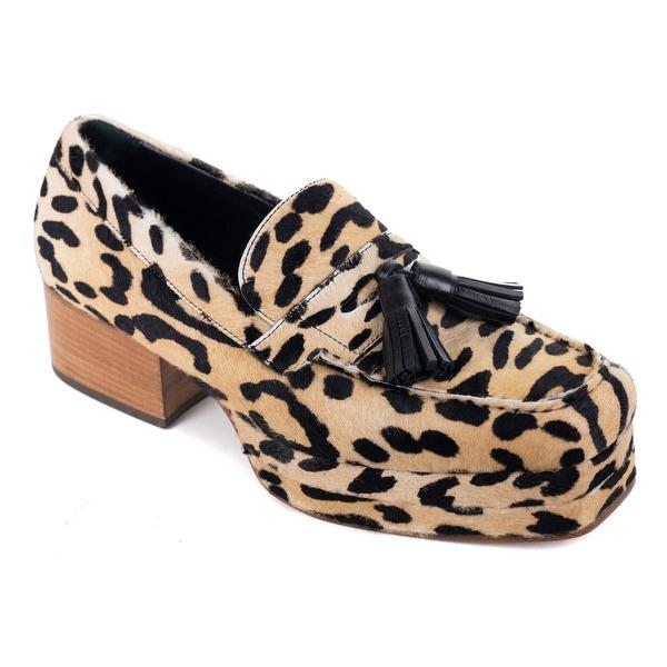 3a04015e5 Shop Roberto Cavalli Mens Cheetah Print Pony Hair Platform Loafers ...