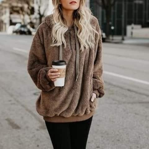 Women's Fleece Hoodies Fuzzy Casual Loose Oversized Sweatshirt Hooded With Pockets