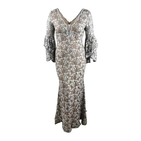 Betsy & Adam Women's Plus Size Embellished Lace Gown (14W, Grey/Nude)