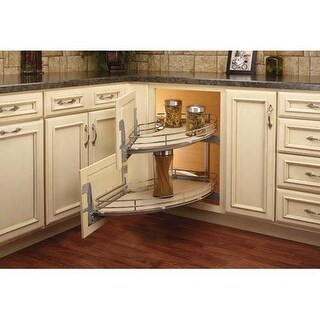 """Rev-A-Shelf 582-18-RMP 582 Series Curve 36"""" Wide by 19"""" Deep Two Tier Blind Left Corner Pull Out Organizer with Maple Wood"""