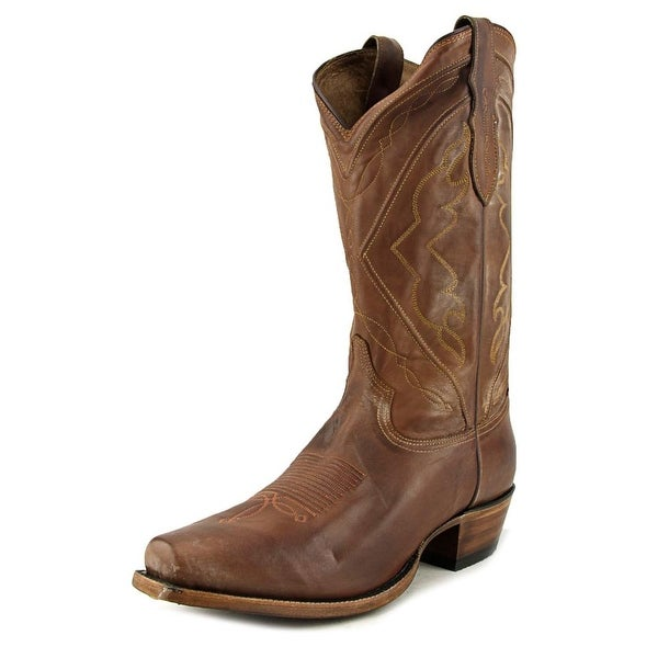 Tony Lama Jersey Men Square Toe Leather Brown Western Boot