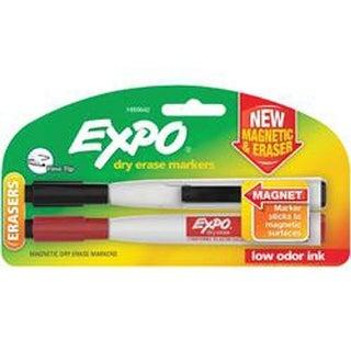 Black & Red - Magnetic Dry Erase Fine Marker With Eraser 2/Pkg