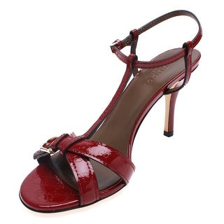 Gucci Women's Strappy High Heel Patent Leather Sandal Red - 6.5 us (36.5 eur)