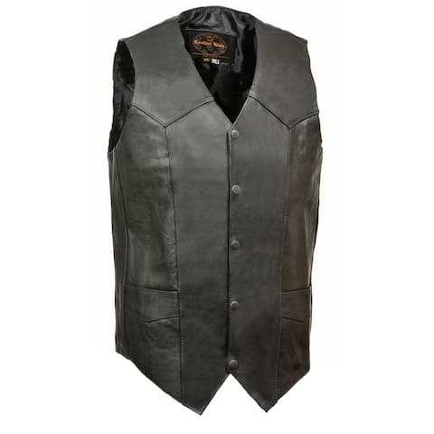 Mens Classic Snap Front Leather Biker Vest -Tall